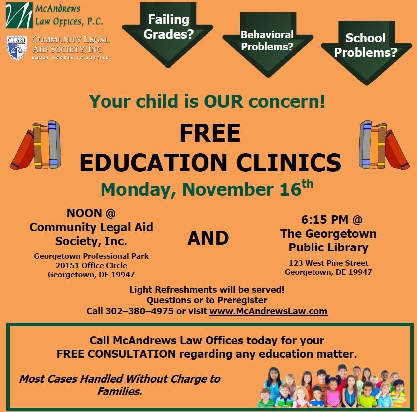 Flyer - November 16th Education Clinics