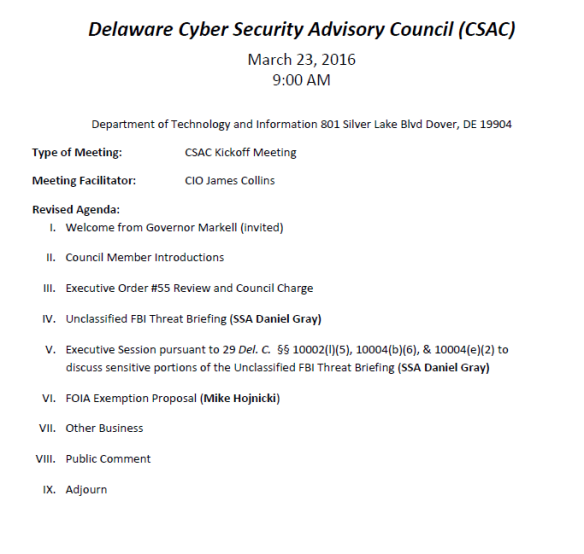 Cyber Security Real Agenda on DE Public Calendar