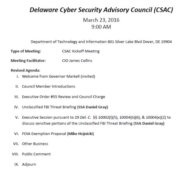Cyber Security Real Agenda on DE Public Calendar