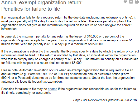 IRS Tax Penalties For 501c3 Not Filing Returns