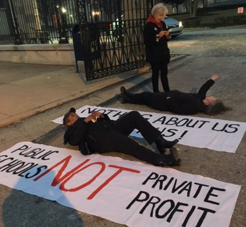 Last Night We Lay Down In The Street To Protest Closed Door Meetings About Public Education inPhiladelphia